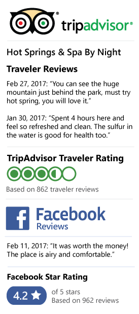 Lost World Hot Springs & Spa by Night Review on Tripadvisor and Facebook